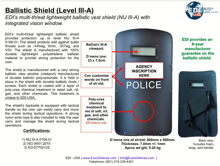 EDI-USA - Ballistics Shield